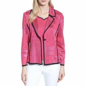 Ming Wang Pink Contrasting Hem Grid Blazer